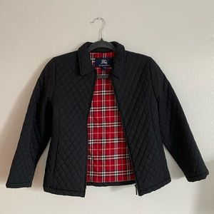 Navy blue Burberry diamond quilted pattern jacket